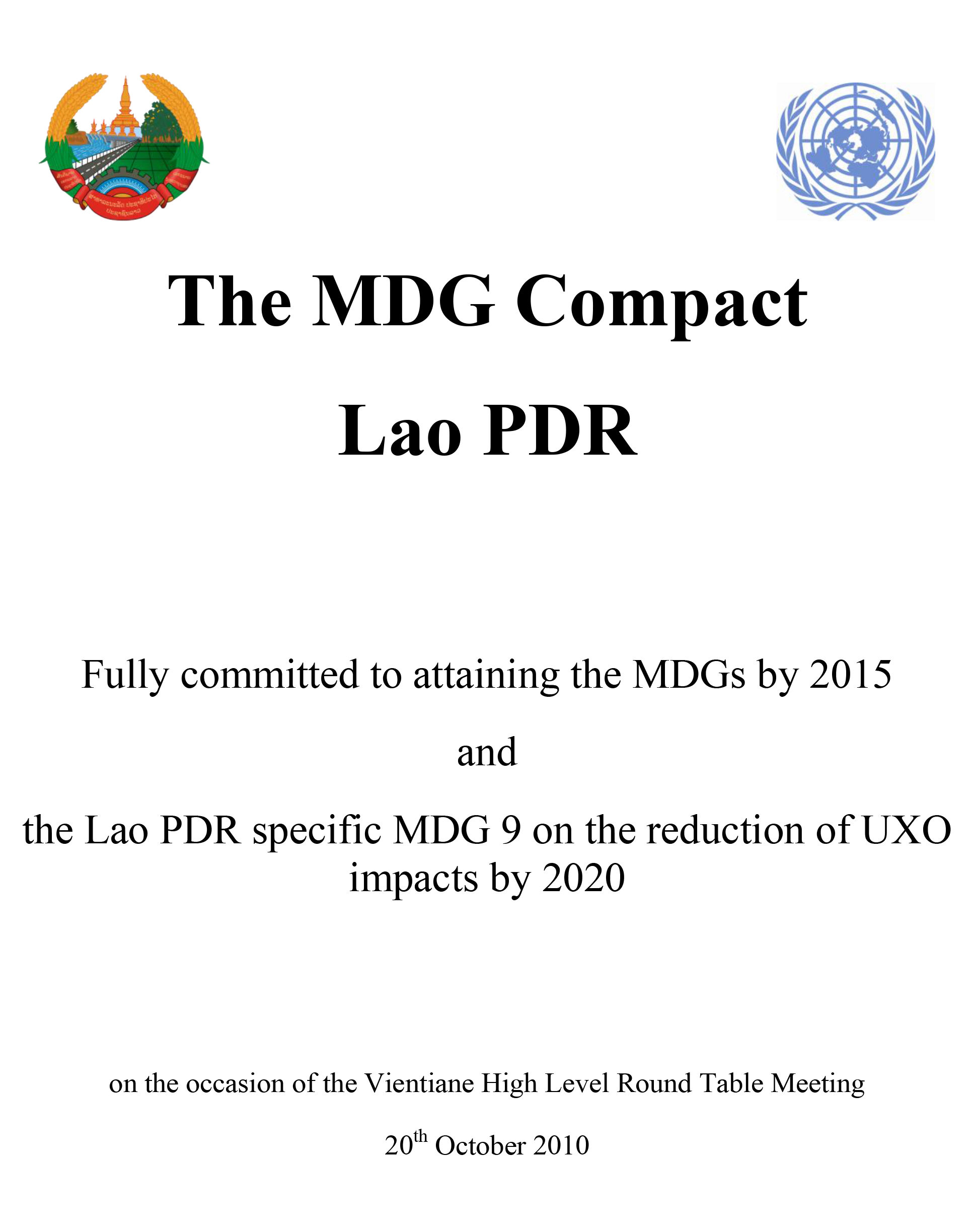 2010 MDGs Compact of Lao PDR - Cover